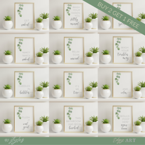 Bathroom Prints Botanical Eucalyptus STUNNING FINE ART PICTURE Minimalist funny