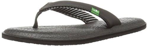 Woman Sanuk Yoga Chakra Flip Flop Sandal SWS10577 Black 100/% Original Brand New