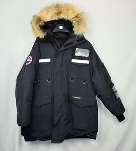 Canada-Goose-Resolute-Parka-Mens-XL-Navy-Blue-Coat-Fur-Trim-Down-Fit-039-s-Large