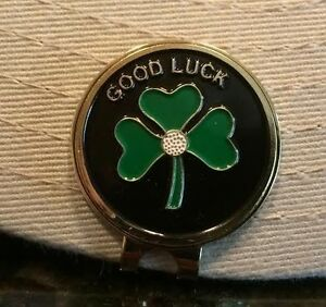 Lucky Irish Clover Hat Clip with removable Magnetic Golf Ball Marker ... 5fb9630cb3bf