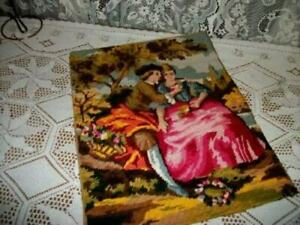 FRENCH-NEEDLEPOINT-TAPESTRY-ROMANTIC-COUPLE-MADE-FRANCE-PILLOW-TOP-VINTAGE