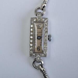 Art-Deco-mujer-pulsera-PLATINO-CON-DIAMANTES-Waltham-EE-UU-Cuerda-manual
