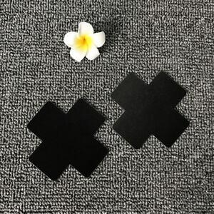 cf8dc667534 50 pairs Black X Cross SATIN Breast Nipple Cover Pasties disposable ...