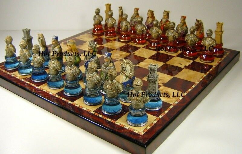 Medieval Times Crusades Crusades Crusades LARGE Red & bluee BUSTS CHESS SET 18  Cherry color Board ff703e