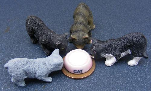 Gato de resina de escala 1:12 & tazón de cerámica de leche tumdee Casa De Muñecas Accesorio de animales