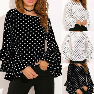 Women-039-s-Bell-Sleeve-Loose-Polka-Dot-Shirt-Ladies-Casual-Blouse-Tops-P