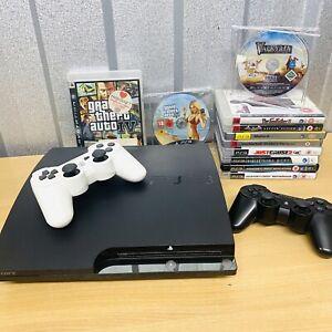 Sony PlayStation 3 Slim 250GB Console Bundle 13 Games - 2 Controllers *READ* GTA