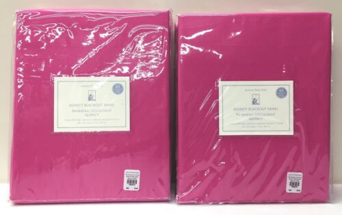 "2 NEW Pottery Barn KIDS Quincy Cotton Canvas 44x63"" BLACKOUT Panels, BRIGHT PINK"