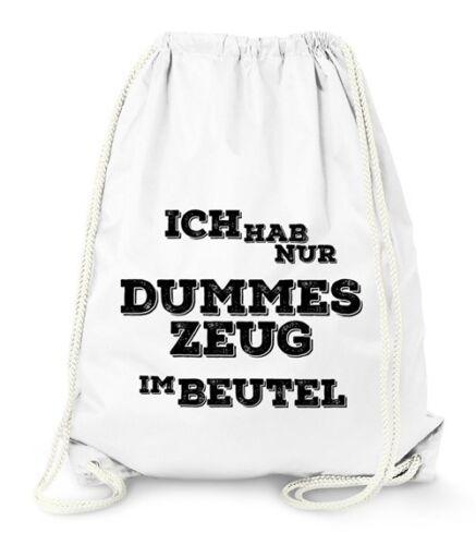 """Turnbeutel mit Spruch /""""dummes Zeug im Beutel/"""" Jutebeutel Gymbag Moonworks®"""