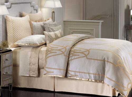 4 pcs CHAMPAGNE GOLD Gray Jacquard QUEEN Jennifer Lopez CHATEAU Comforter Set