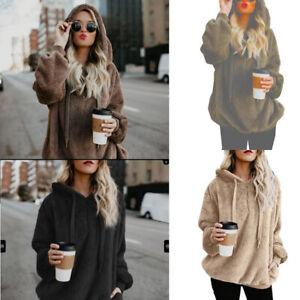 Women's Oversized Soft & Cozy Sherpa Like Pullover Hoodie ...