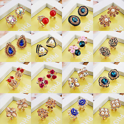 Fashion Women Jewelry Crystal Rhinestone Gold/Silver Plated Ear Stud Earrings