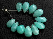 Natural Blue Amazonite Faceted Pear Briolette Semi Precious Gemstone Beads 009