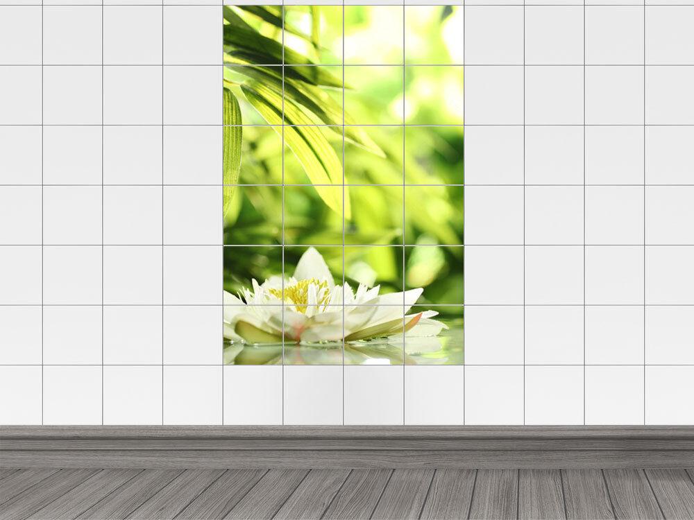 Adesivo piastrelle immagine piastrelle acqua rosa foglie fiori