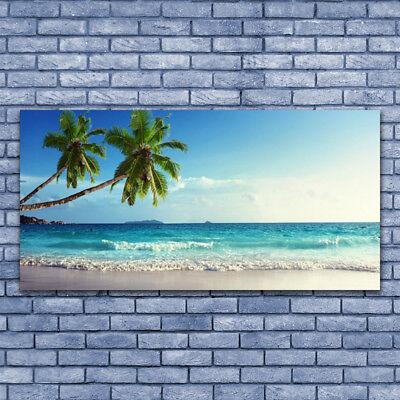 Glasbilder Wandbild Druck auf Glas 125x50 Palmen Strand Meer Landschaft