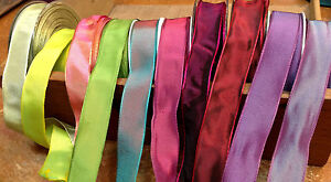 """Vintage French Ribbon Viscose Rayon 7/8"""" wire 1yd Made in France"""