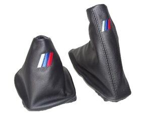 Funda-Palanca-de-Cambios-y-Freno-Para-BMW-E36-E46-1991-05-Cuero-034-MPower-034-Bordado