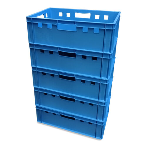 5 x E2-Kiste Stapelbox Kunststoffbehälter Box Kiste Eurobox Lagerbox blau NEU.