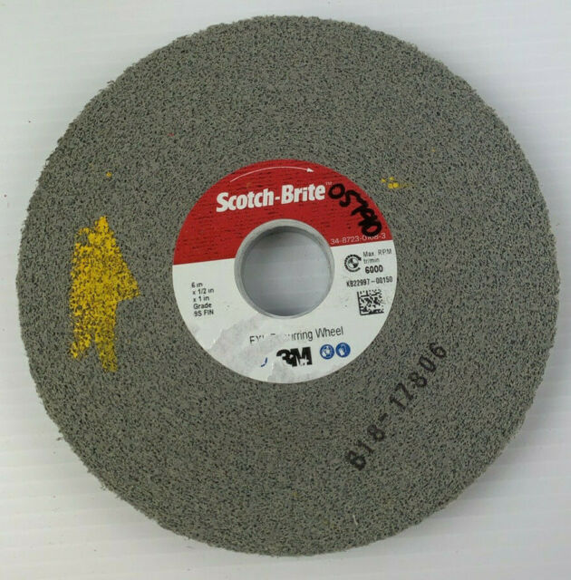 "1-Pk 3M Scotch-Brite 05790 6/"" x 1//2/"" x 1/"" 9S FIN ExL Deburring Wheel"