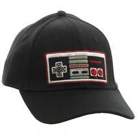Black Nintendo Nes Controller Logo Flex Fit Stretch Hat Cap Curved Bill Retro