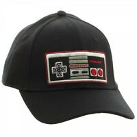Black Nintendo Nes Controller Logo Flex Fit Stretch Hat Cap Curved Bill Retro
