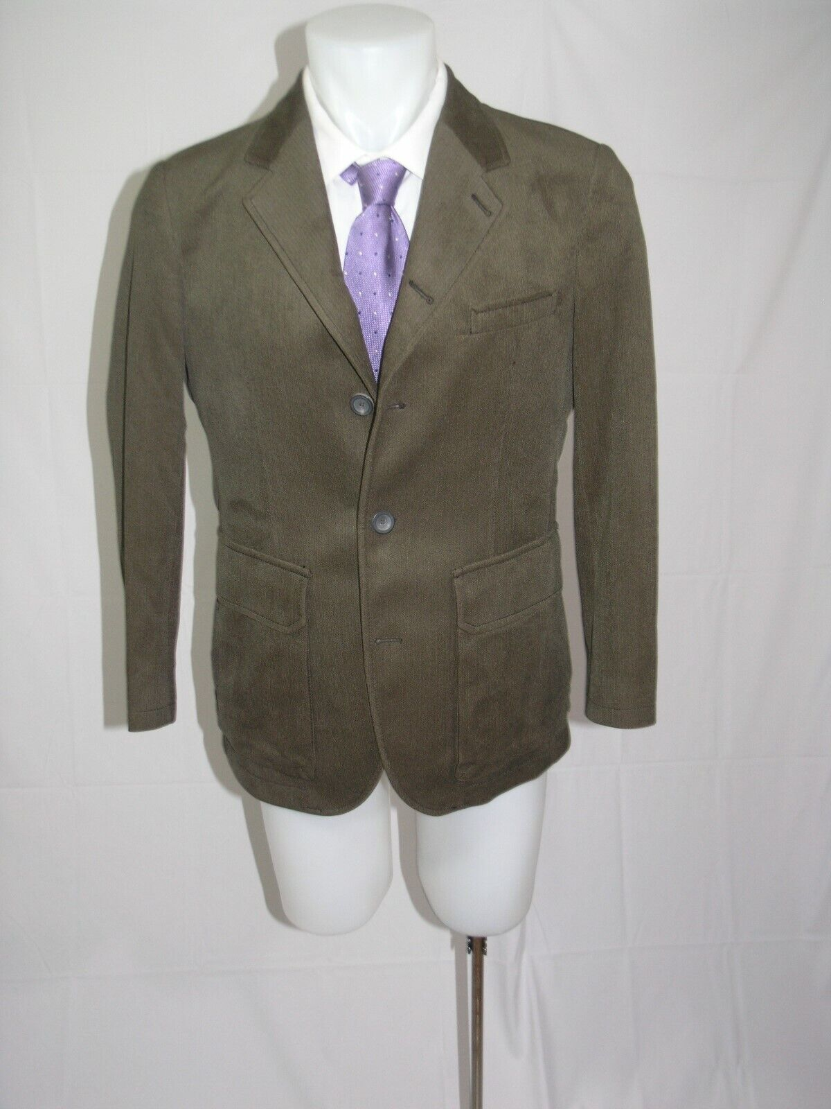 Emporio Armani Grünline braun Herringbone Four Roll Three Norfolk Blazer 40R