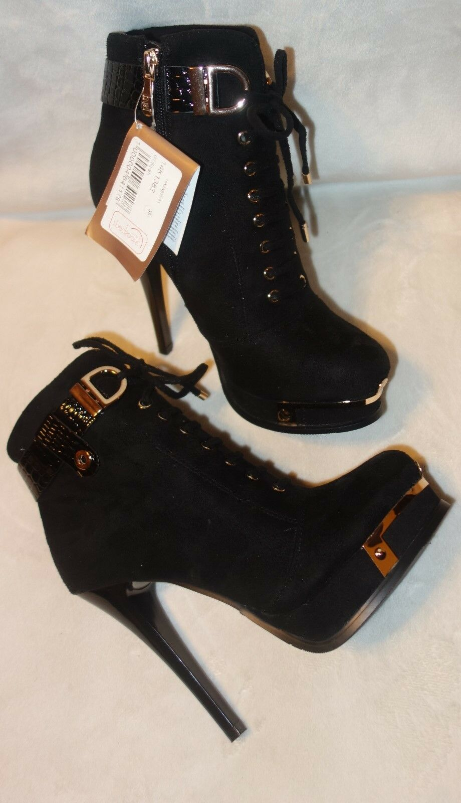 Bej ankle BOOTS black suede boot shoe SZ 37 NEW