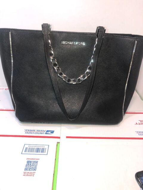 Michael Kors Jet Set Travel Chain Shoulder Tote Bag Black Saffiano Leather