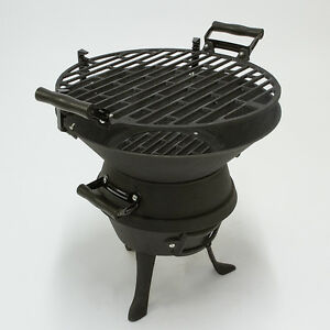 Image Is Loading Black Portable Cast Iron Charcoal BBQ Grill Fire