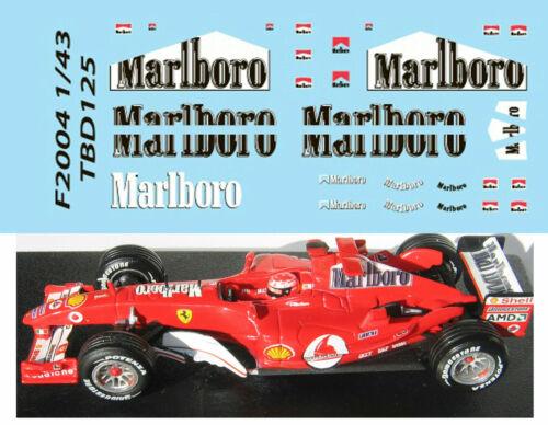 1//43 FERRARI F1 F2004 MICHAEL SCHUMACHER SPONSOR DECALS TB DECAL TBD125