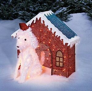 Reduced price lighted glitter mesh dog dog house for Christmas cat yard decorations