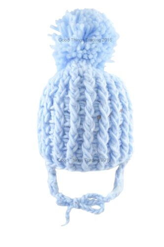 Baby Bobble Hat Winter Pom Pom Beanie Cap Chin Ties Knitted Newborn-12 Months