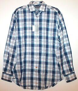 Thomas-Dean-Mens-Blue-Black-Plaid-Button-Front-Dress-Shirt-NWT-110-Size-M