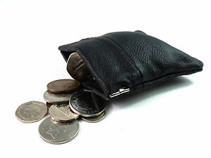 9d254f54c119 Details about MENS LADIES SOFT REAL BLACK LEATHER COIN POUCH PURSE WALLET  SNAP TOP CARD HOLDER