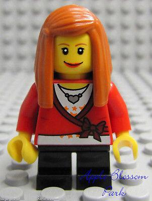 NEW Lego FEMALE MINIFIG GIRL Red Heart Shirt w//Orange Hair /& Black Short Legs