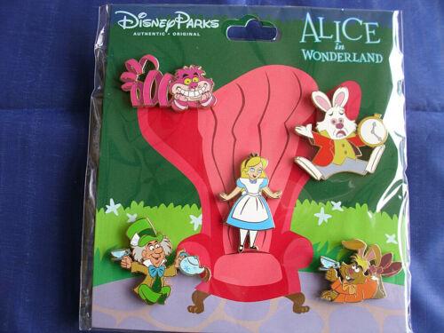 New in Package 5 Pin BOOSTER Set ALICE IN WONDERLAND Disney