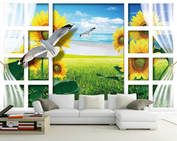 3D Sunflowers 584 Wallpaper Murals Wall Print Wallpaper Mural AJ WALL AU Lemon