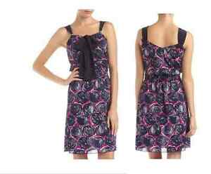 bcef24a20626 NWT- Tory Burch Monica Abstract-Print Tie-neck Dress, Orchid/Navy ...