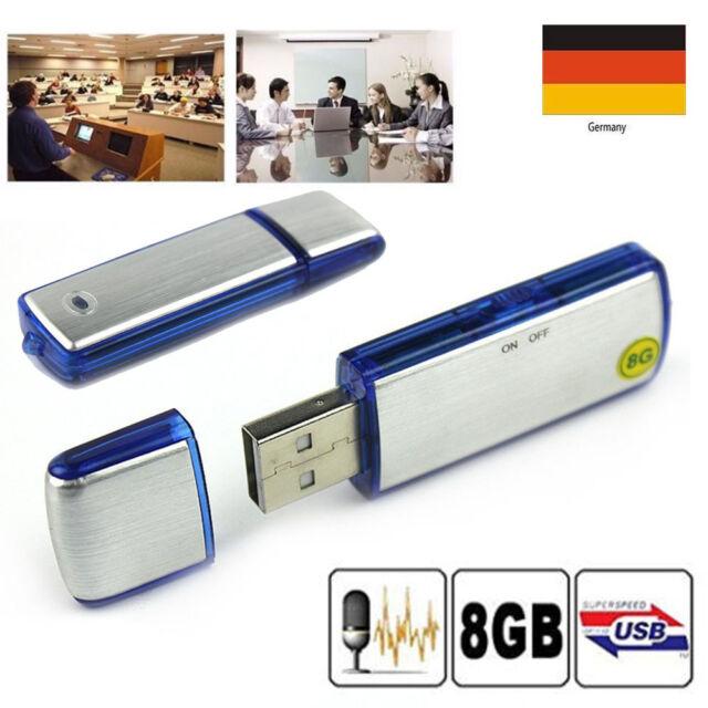 8GB Mini Digital Diktiergerät Aufnahmegerät Audio Voice Recorder USB Stick 2018