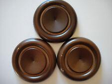 "Set of 3 Grand Piano Wood Caster Cups Walnut Finish 5"" Diameter Discount Price"
