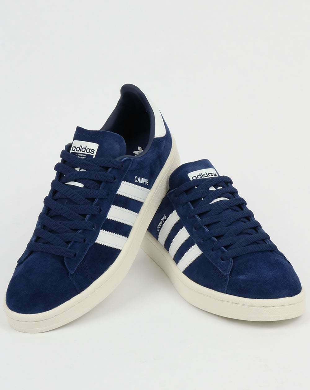 adidas Campus Trainers in Dark Blue & White suede - navy retro 3 stripes SALE