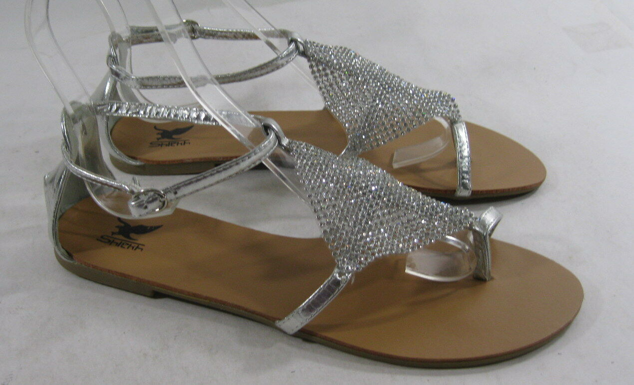 Summer Silver Womens Flat Size Ankle Strap Sandals Shoes Size Flat 6 7f6b26