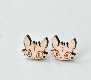 95f8f9d4869cf Details about Cute wood toothless earrings handmade how to train your  dragon stud earrings