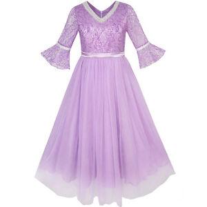 US-STOCK-Flower-Girl-Dress-Lace-Sequin-V-neckline-Pageant-Wedding-Size-4-14