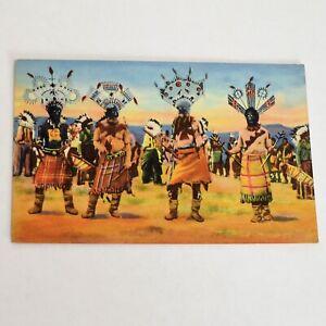 Vintage-Apache-Devil-Dance-Curteich-Colortone-Linen-Postcard-Unposted