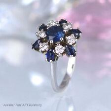 Ring in 750/- WG mit 7 Saphire ca. 0,60 ct. und 6 Diamanten ca. 0,30 ct. W/VVSI