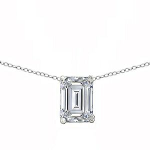 8ab3b957036 Details about 2 Ct Emerald Solitaire in Real 14k White Gold Choker 13