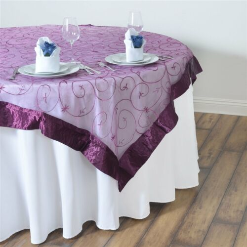 """10 Pack 60/""""x60/"""" Embroidered Organza Overlay Wedding Party Banquet 20 Colors!"""