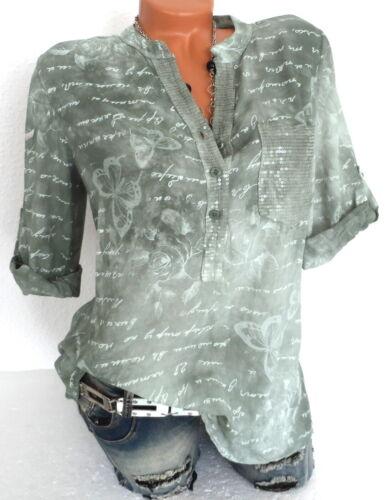 Damenbluse Tunika Longbluse Shirt Hemd Texturiert Oliv M L XL 2XL 38 40 42 44