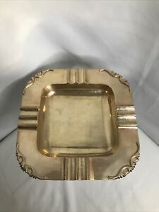 VINTAGE-BRASS-ASHTRAY-Square-Art-Deco-Style-7-5-Inches